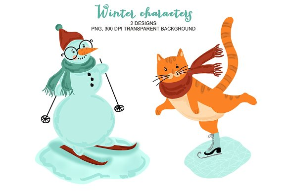 Christmas illustrations creative market. Animals clipart winter
