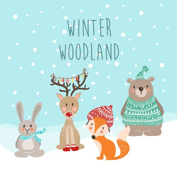 Cute handdrawn woodland animal. Animals clipart winter