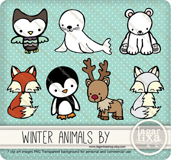 Cute pig mouse tiger. Animals clipart winter