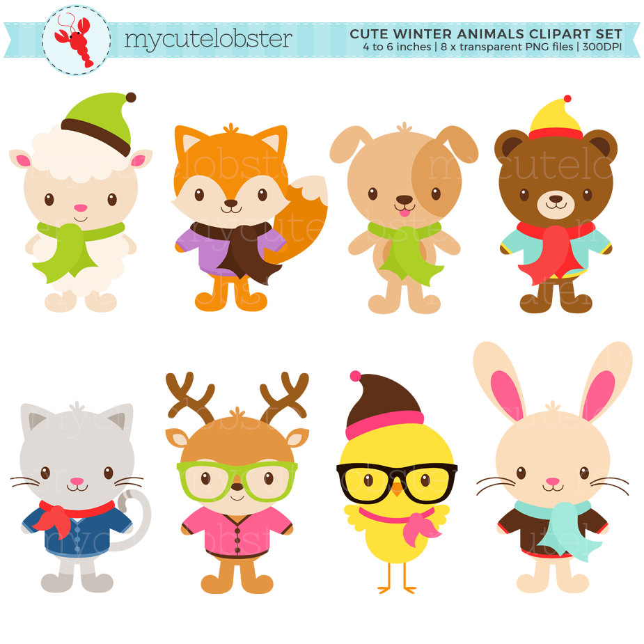 Cute set hipster clip. Animals clipart winter