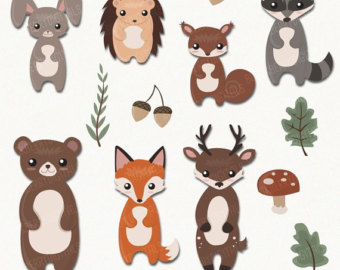Clip art and digital. Animals clipart woodland