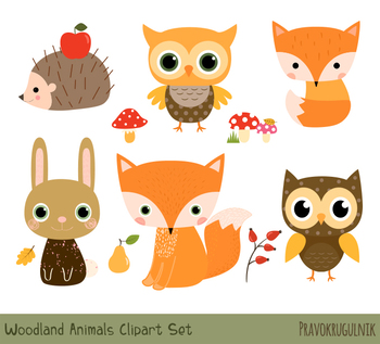 Animals clipart woodland. Cute animal forest clip