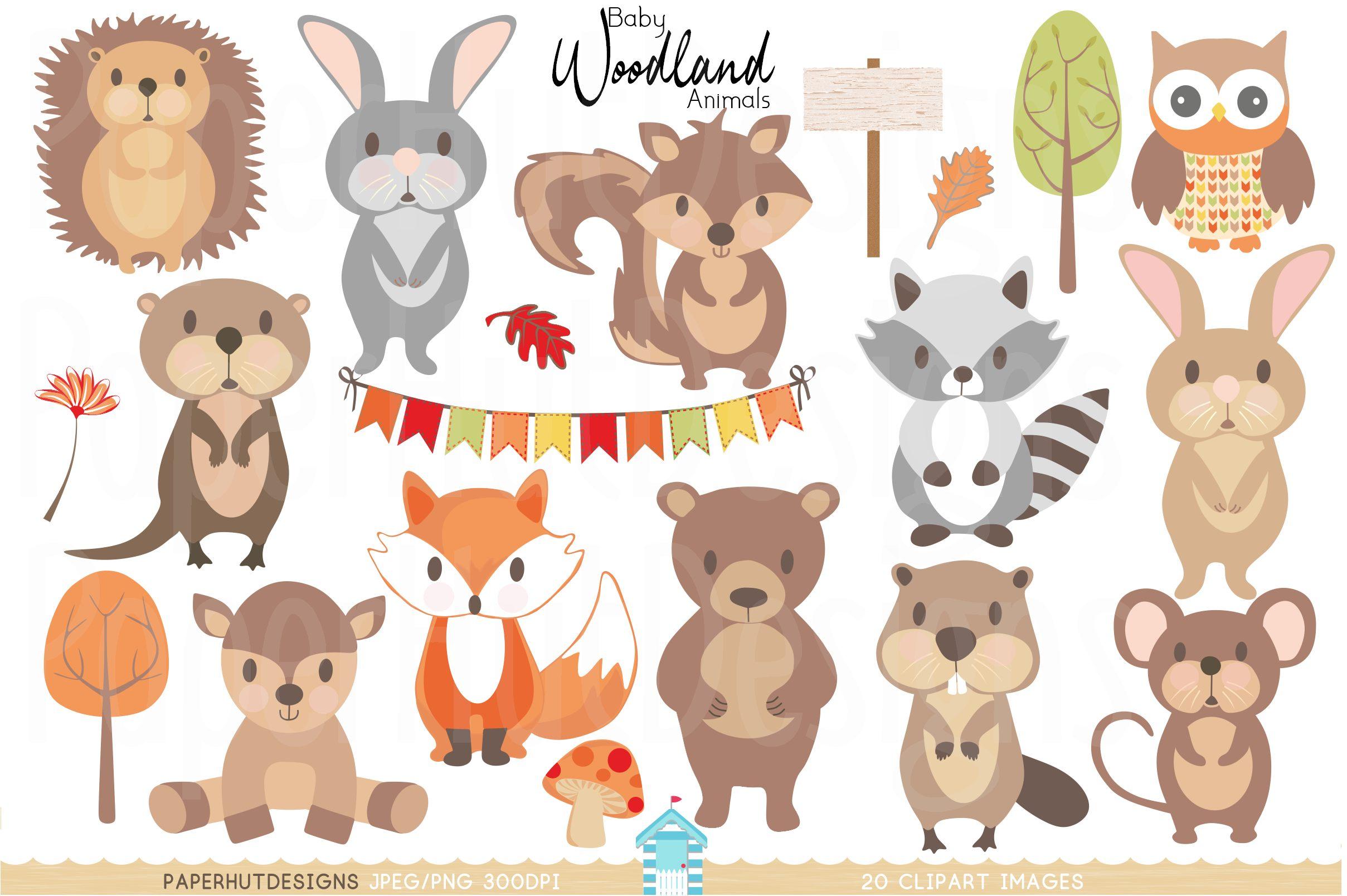 Woodland clipart baby woodland animal. Animals