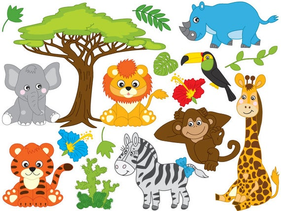 Jungle digital vector safari. Animals clipart