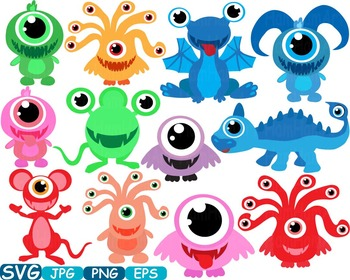 Cute monsters svg silhouettes. Animals clipart alien