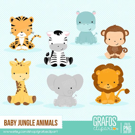 Jungle digital set zoo. Animals clipart baby shower
