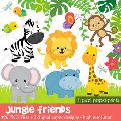 Custom printed wild jungle. Animals clipart baby shower