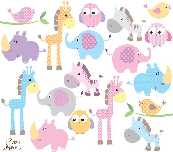 Diy pastel cute elephant. Animals clipart baby shower