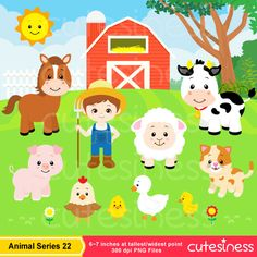 Farm animal free printables. Animals clipart barnyard