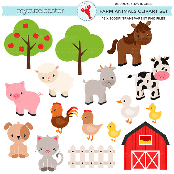 Animals clipart barnyard. Adorable baby farm clip