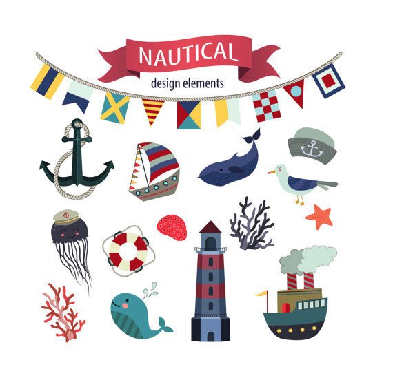 Nautical summer clip art. Beach clipart logo