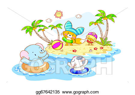Drawing are playing on. Animals clipart beach
