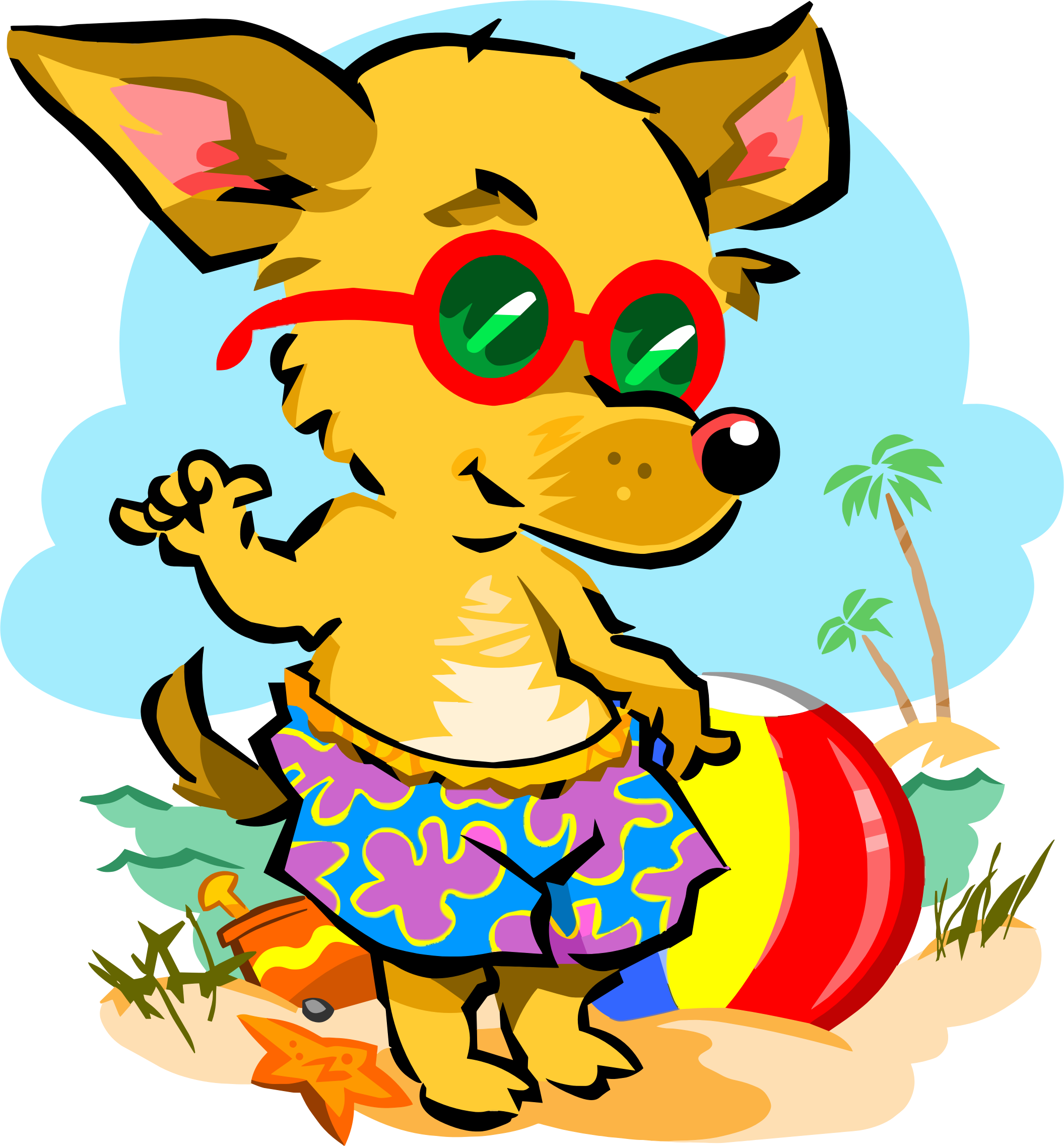 Animals clipart beach. Fox big image png