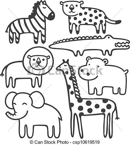 Wild station. Animals clipart black and white