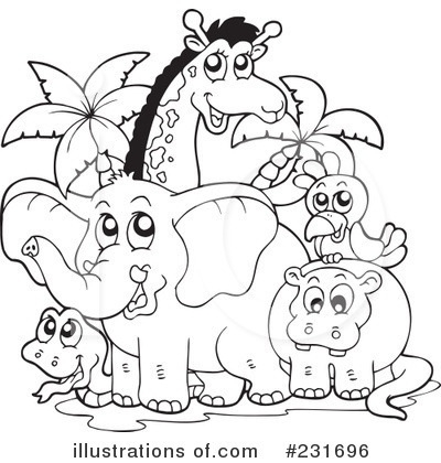 Animals clipart black and white. Best of zoo letter