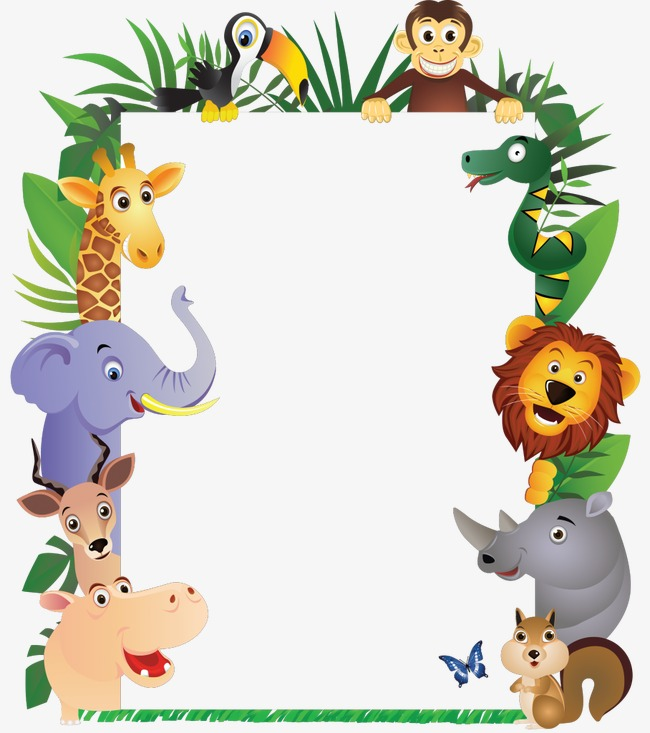 Animals clipart boarder. Animal border hand painted