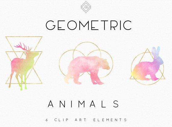 Geometric animal watercolor llama. Animals clipart boho