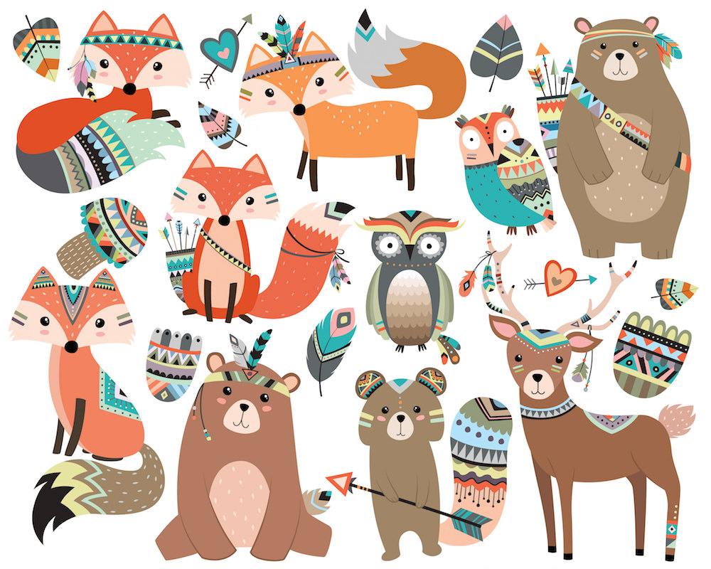 Boho clipart owl. Woodland tribal animals vol