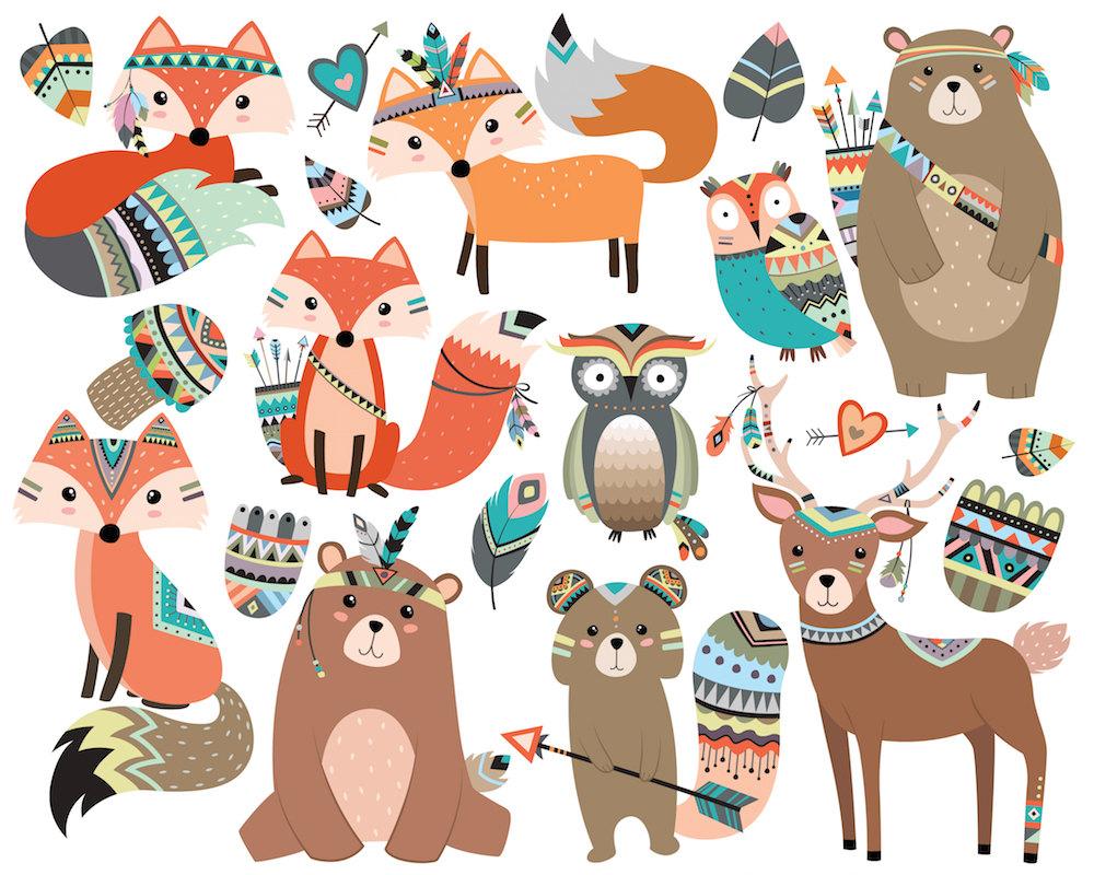 Animals clipart boho. Woodland tribal vol set