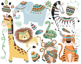Boho clipart animal. Woodland tribal animals dpi