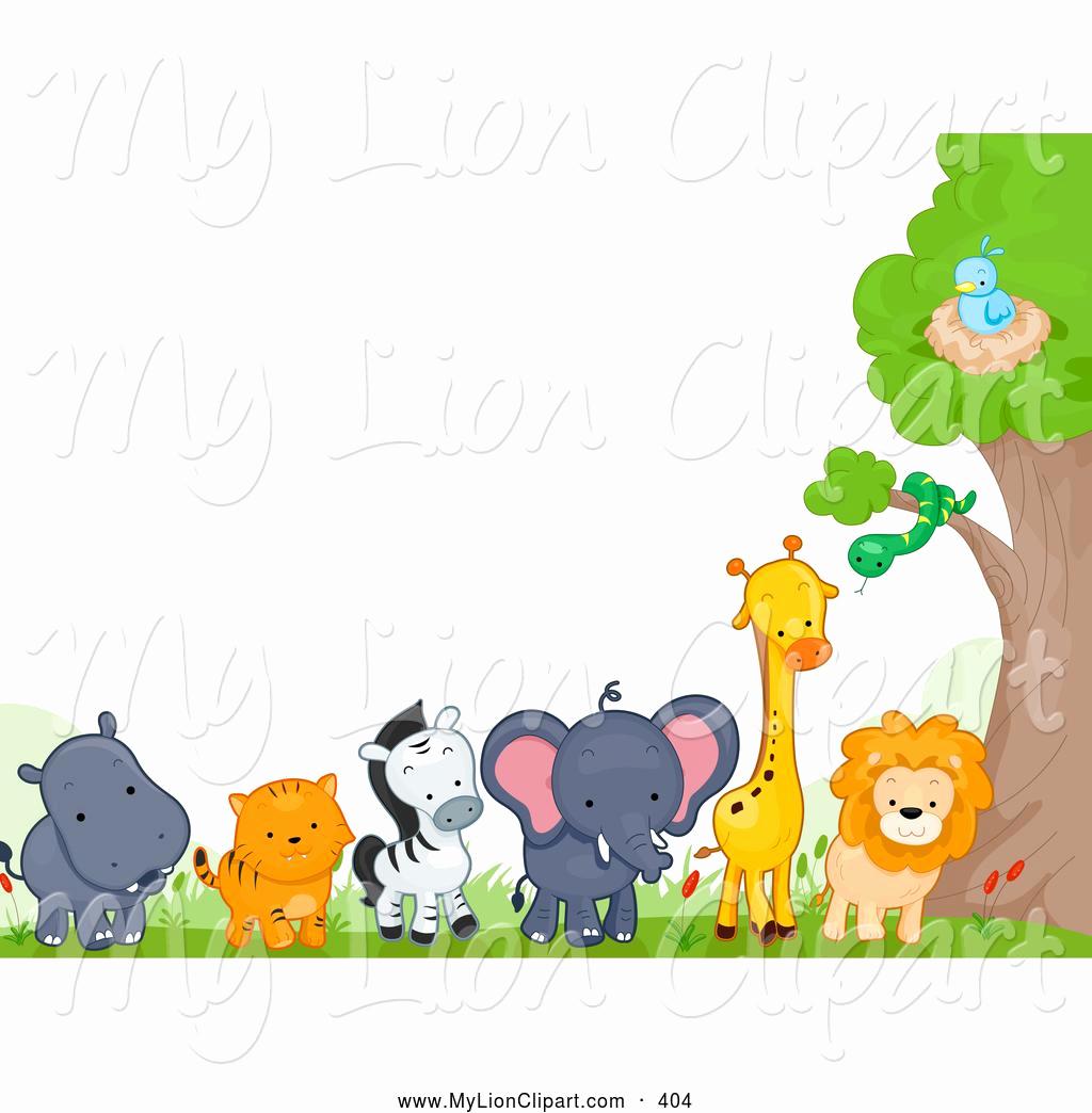 Jungle page clip art. Animals clipart borders