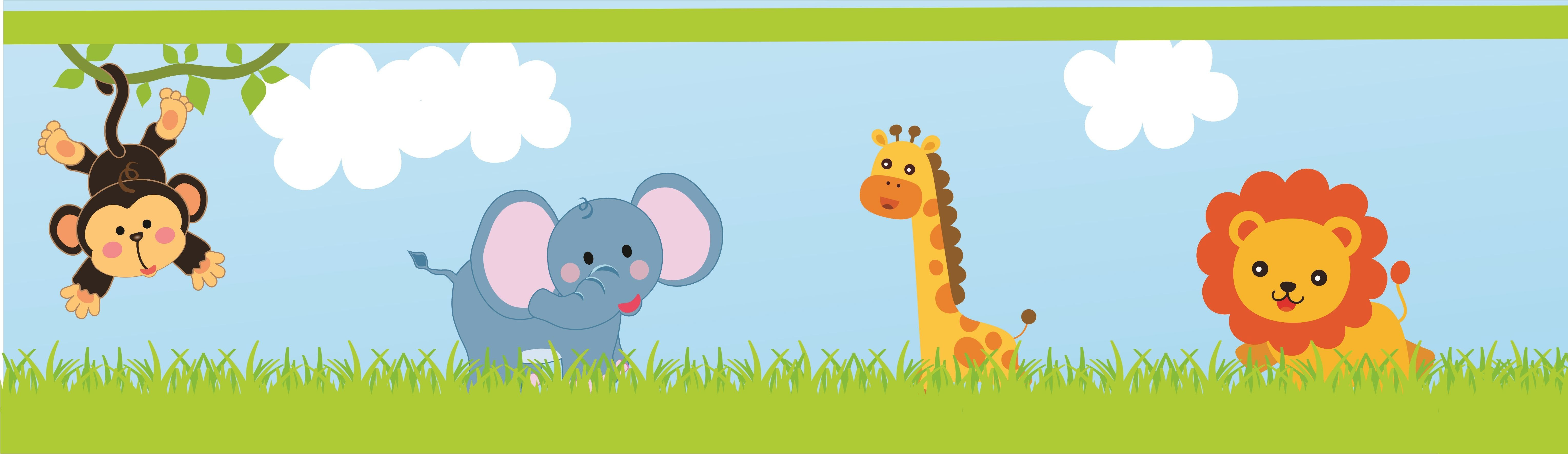 Images of jungle baby. Animals clipart borders