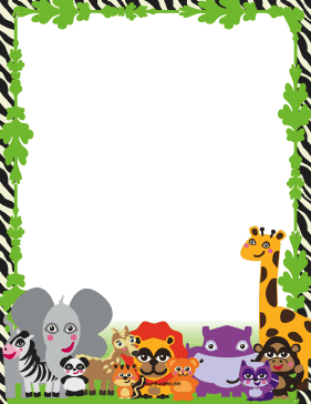 Animals clipart borders. This printable jungle border