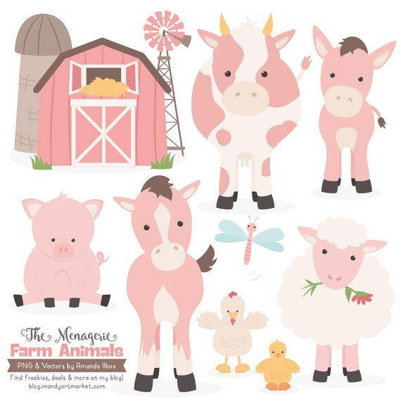 Animals clipart cow. Premium soft pink farm