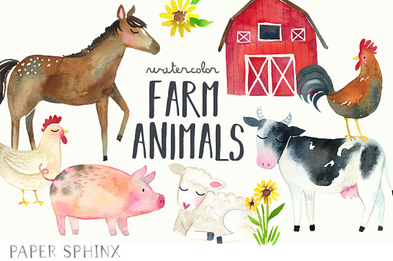 Watercolor farm clip art. Animals clipart cow