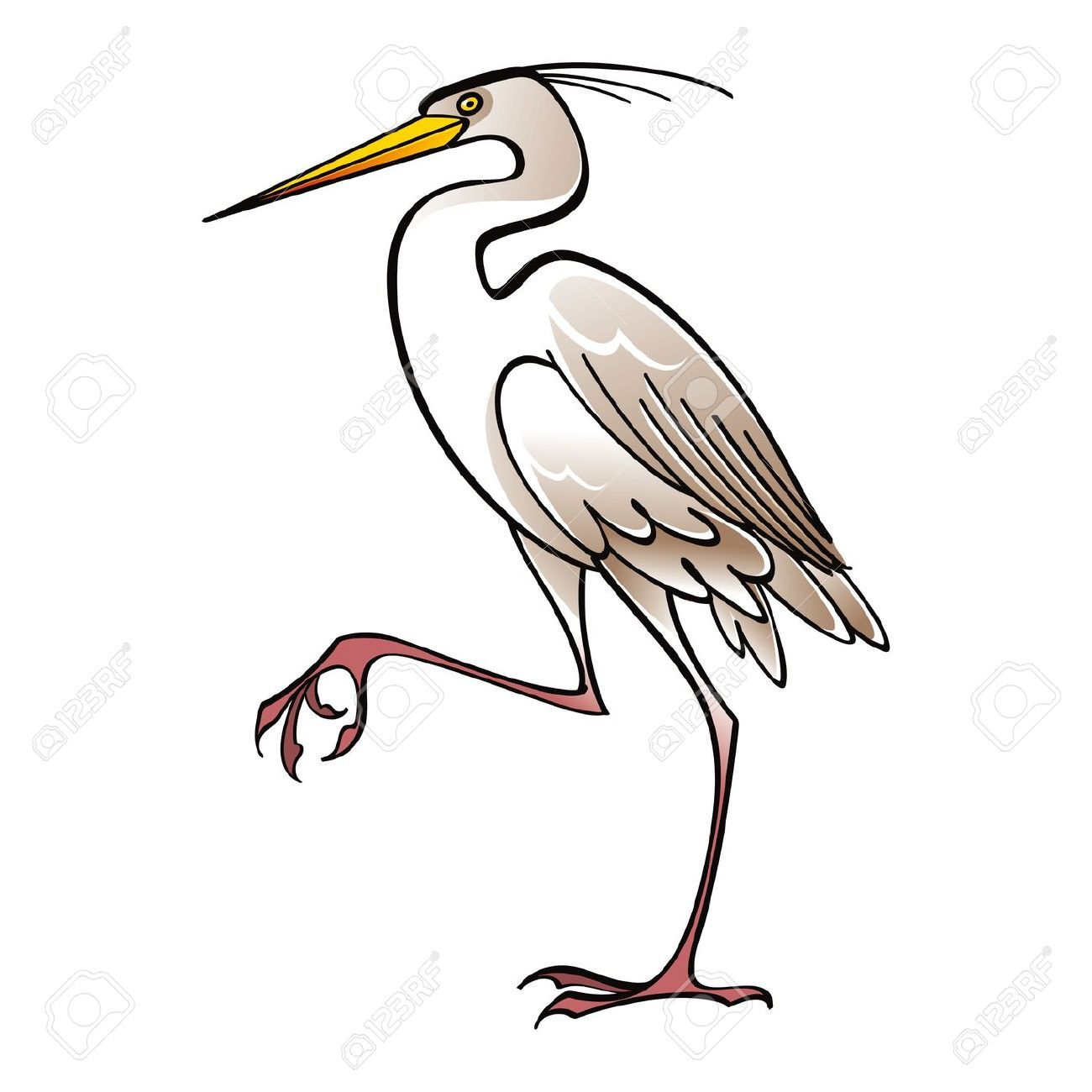 White bird clip art. Animals clipart crane