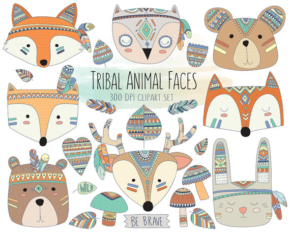 Animals clipart cute. Tribal animal faces clip