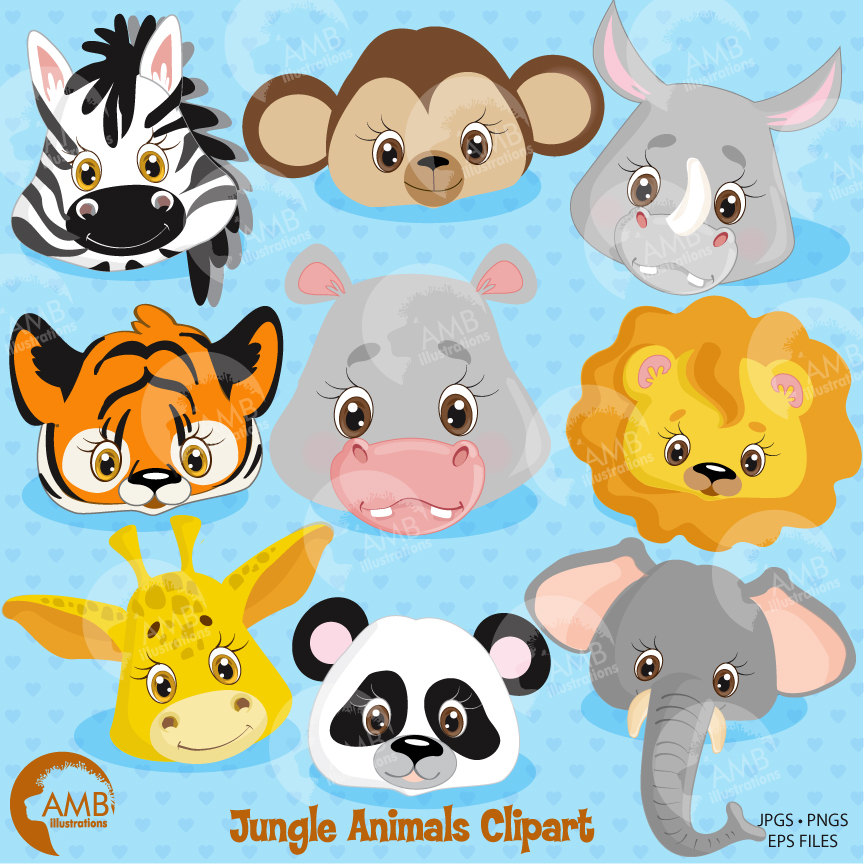 Jungle animal faces lion. Animals clipart cute