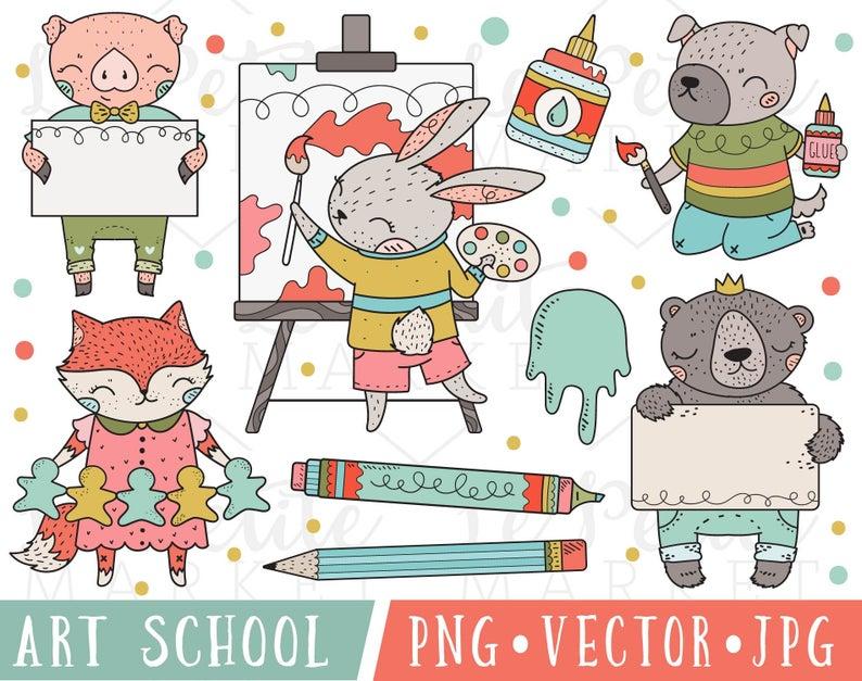 School images art classroom. Animals clipart cute