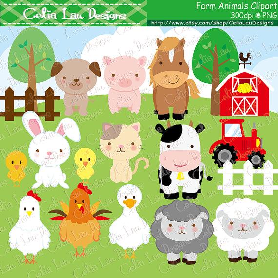 Farm clip art . Animals clipart cute