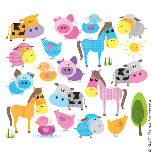 Farm animal baby includes. Animals clipart cute