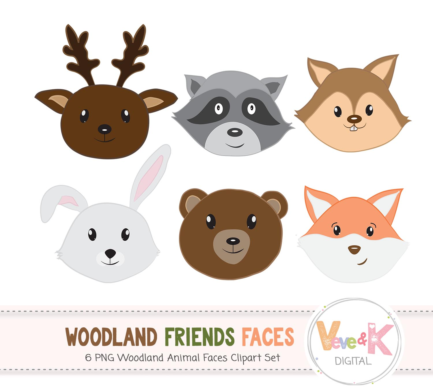 Forest faces woodland fox. Animals clipart deer