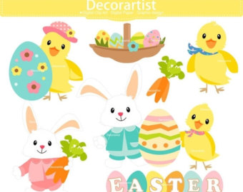 Watercolor bunny clip art. Animals clipart easter