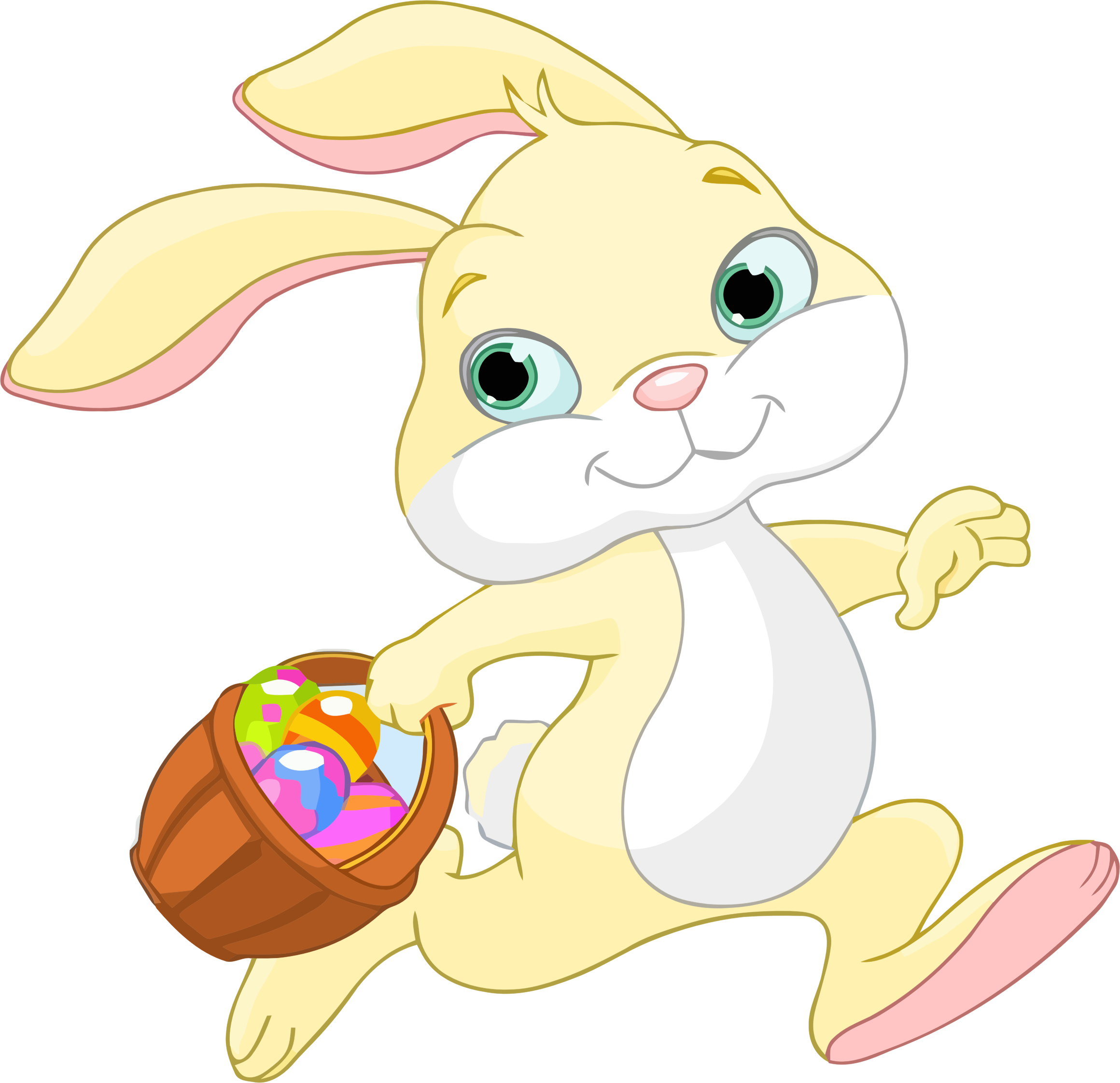 Clipart bunny group. Easter with basket big
