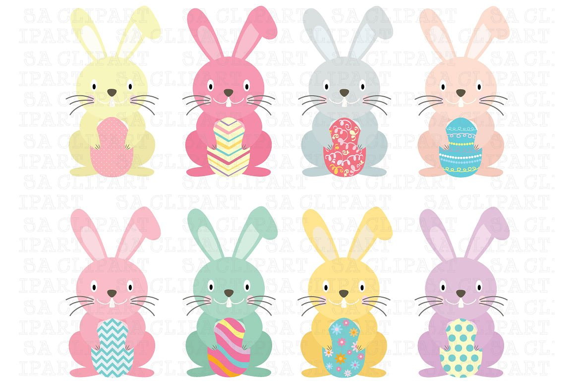 Animals clipart easter. Bunny illustrations creative market