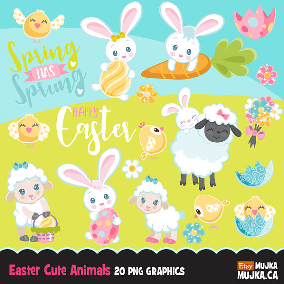 Animals clipart easter. Cute spring graphics baby