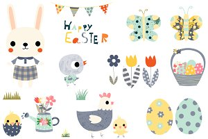 Doodle watercolor set illustrations. Animals clipart easter
