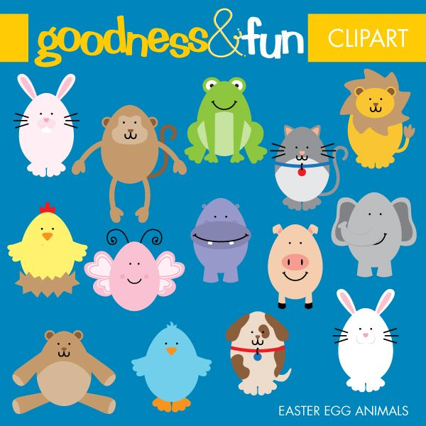 Egg set featuring in. Animals clipart easter