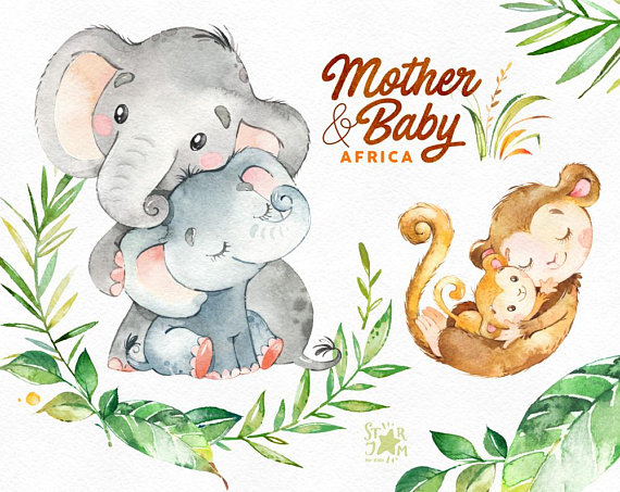 Mother baby africa watercolor. Animals clipart elephant