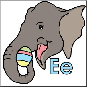 Alphabet e is for. Animals clipart elephant