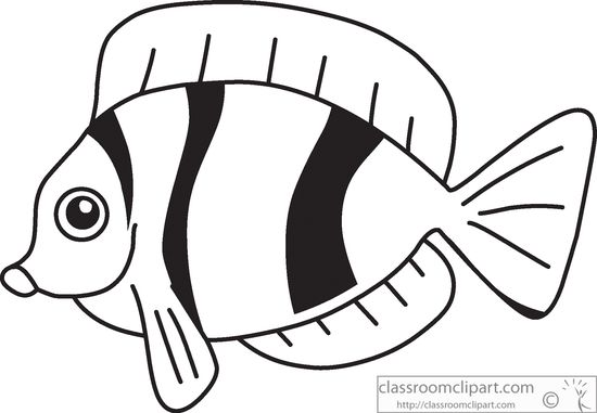 Animals clipart fish. Black white outline classroom