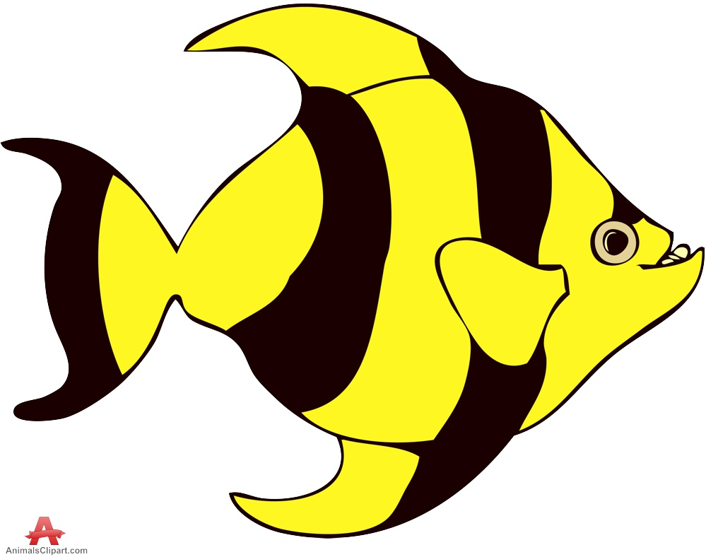 Striped tropical yellow and. Animals clipart fish
