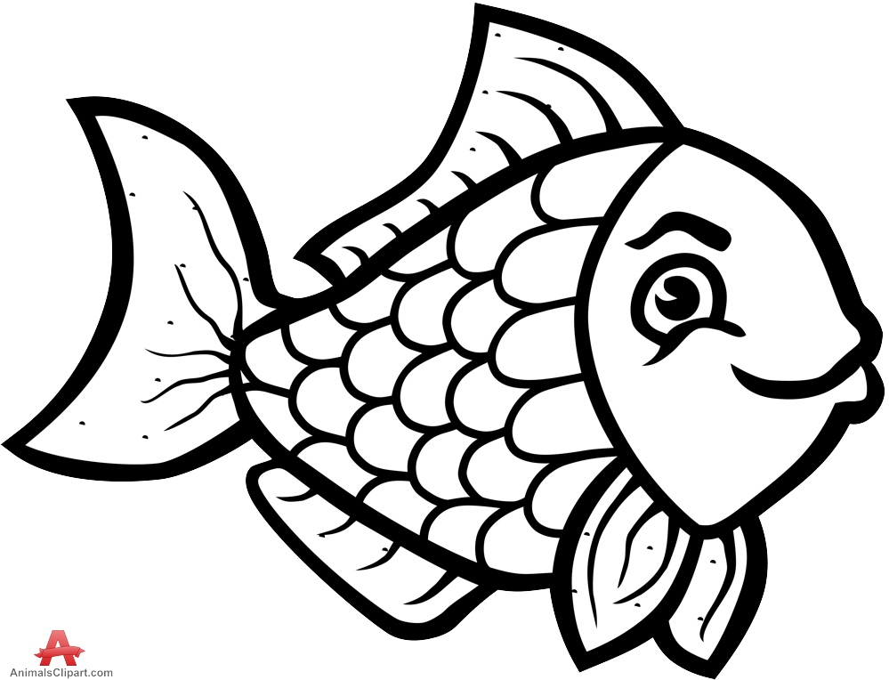 Beautiful outline design in. Animals clipart fish