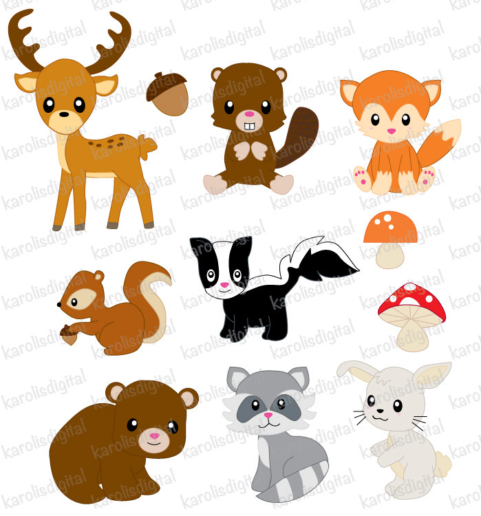 Animals clipart forest. Clip art set