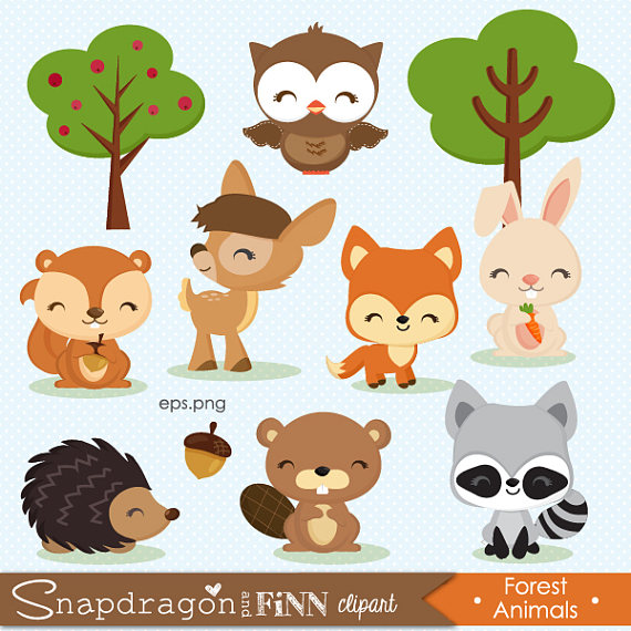 Forest animal baby . Woodland clipart cut out