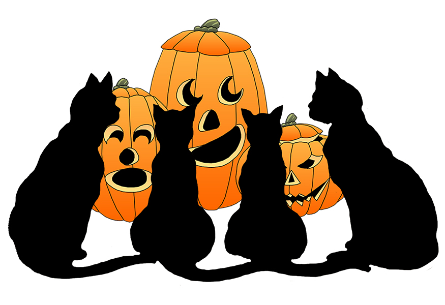 Animals clipart halloween. Happy black cats and